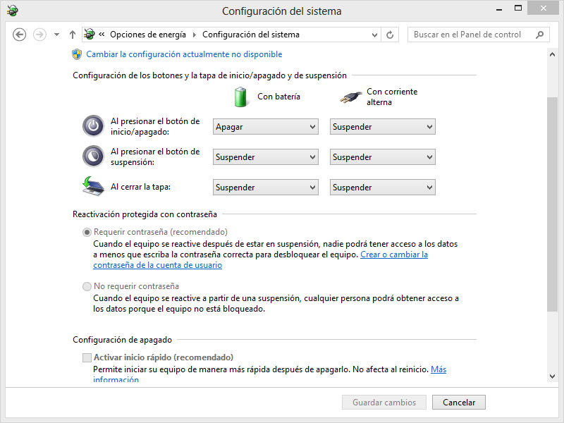 menú para desactivar inicio rápido en Windows 8