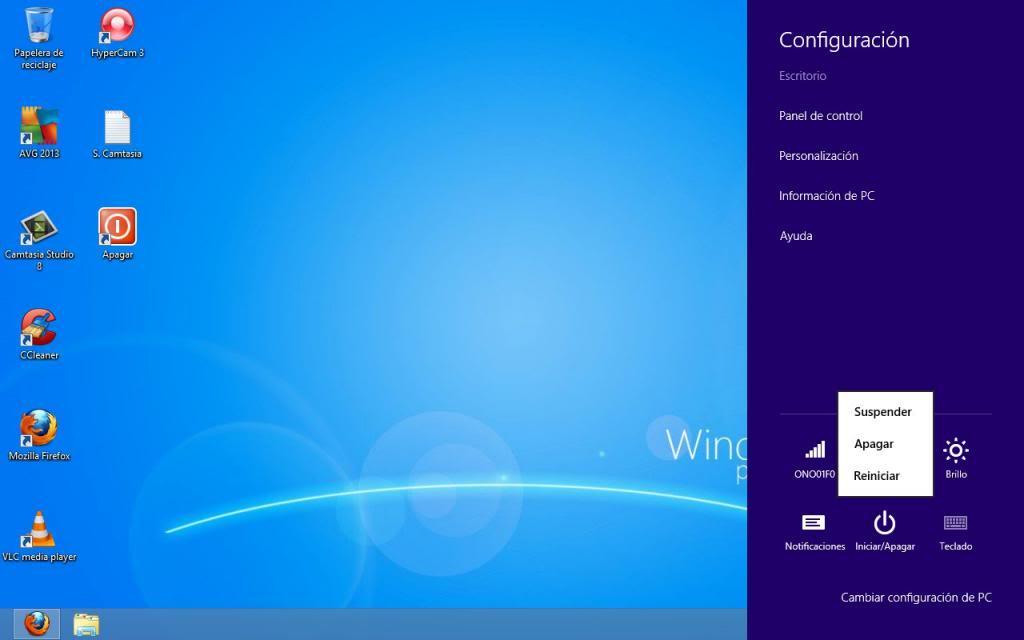 apagar Windows 8 desde la barra lateral