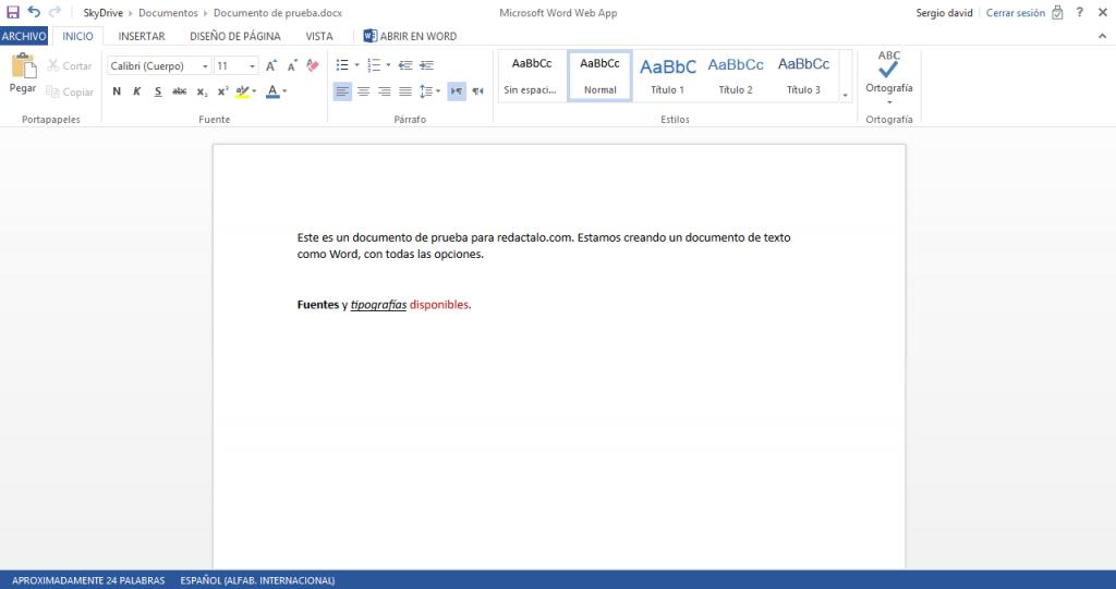 Crear documentos Online SKydrive