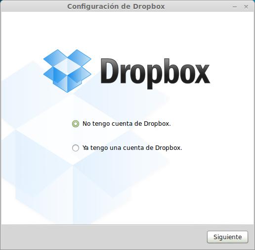 Seleccionar si tienes cuenta o no en dropbox