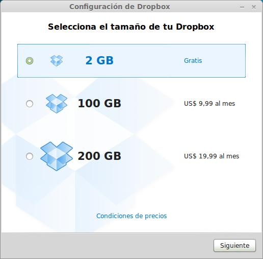 Menú de selección de plan en Dropbox