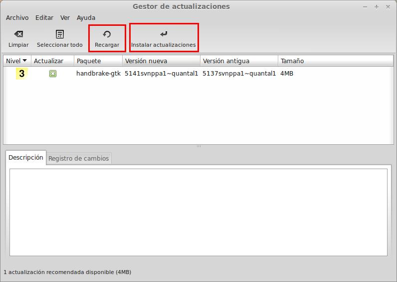 Instalar actualizaciones en Linux Mint 13