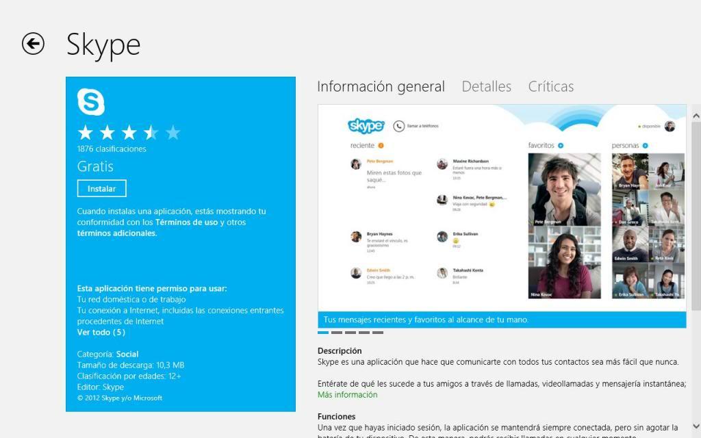 Información de las aplicaciones de la tienda de Windows 8
