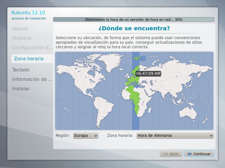 Selección de zona horario Kubuntu 12.10 width= height=