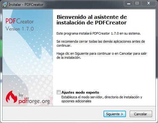 Instalar PDFCreator Windows width= height=