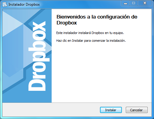 asistente de instalación de dropbox en Windows