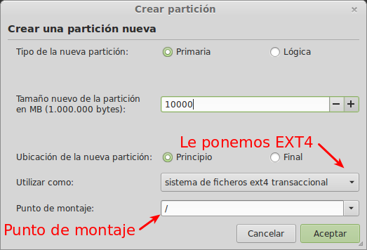 Crear partición para Linux Mint 14 width= height=
