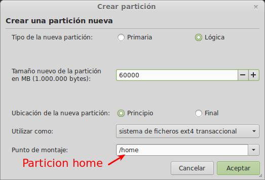 Crear partición para el home separado en linux width= height=