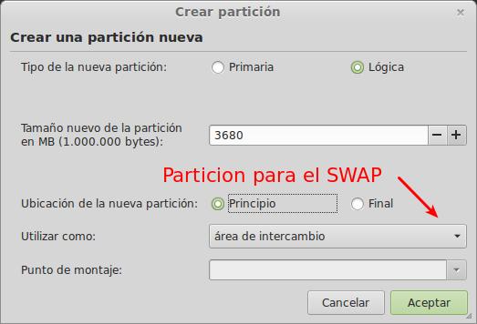 Partición para el SWAP en Linux width= height=