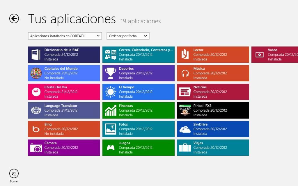 Mis aplicaciones de la tienda de Windows 8