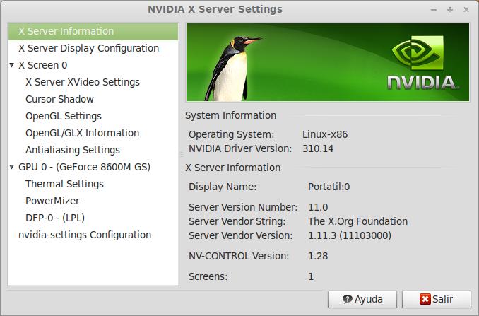 Configurar Xserver settings de Nvidia en Ubuntu 12.10