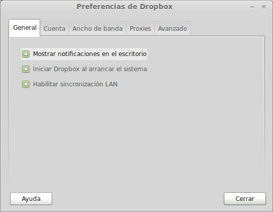 editar las preferencias de dropbox
