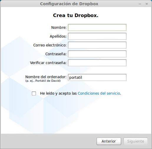 rellenar datos de registro en Dropbox