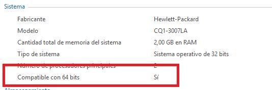 Saber si el procesador es de 64 bits, en Windows width= height=