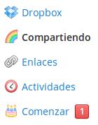 secciones en la web de dropbox