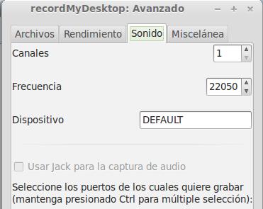 configurar gráficos recordmydesktop