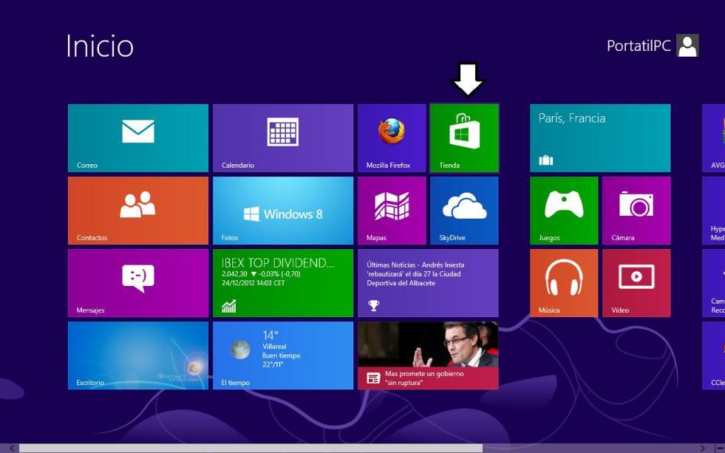Tienda de aplicaciones de Windows 8 desde la interfaz metro