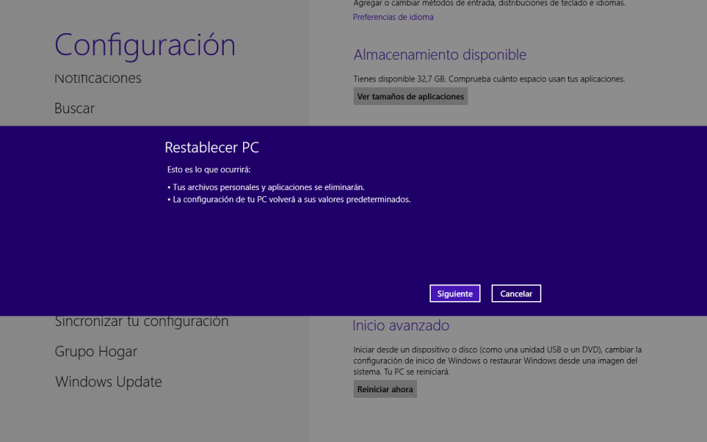 Windows 8 a su configuración de fábrica
