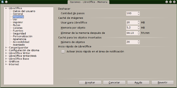 Acelerar y optimizar el rendimiento de LibreOffice en Windows y Linux