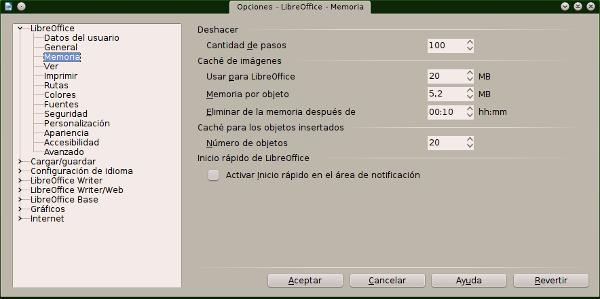 Acelerar y optimizar el rendimiento de LibreOffice en Windows y Linux
