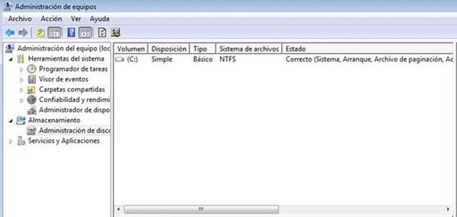 Crear particiones con Windows 7 a nuestro disco duro sin aplicaciones.