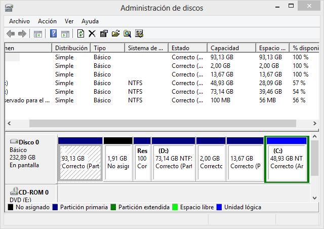 Crear y reducir particiones en Windows