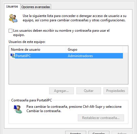 Iniciar sesión automáticamente en Windows 8