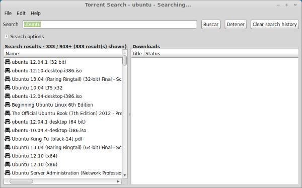 Buscador de archivos torrent en Linux con Torrent Search