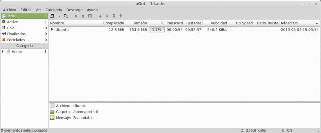 uGet gestor de descargas en Ubuntu 12.10