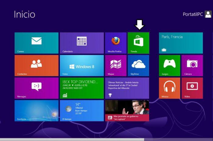 Instalar aplicaciones en Windows 8 desde la tienda