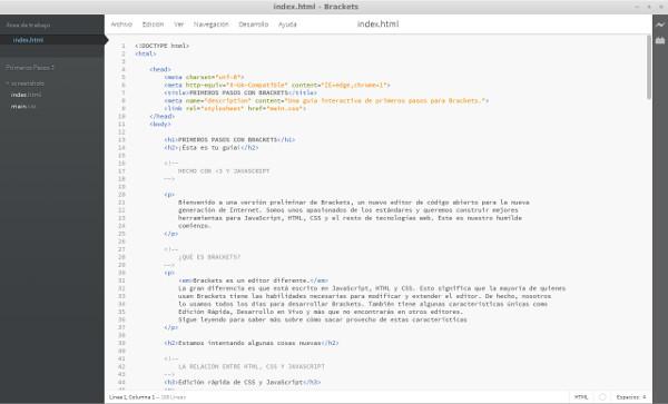 Brackets: Editor web libre, gratuito y multiplataforma