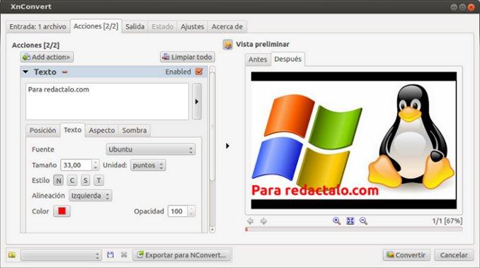 Xnconvert, editor de imágenes multiplataforma