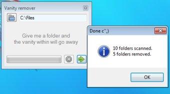 Eliminar carpetas vacías en Windows 7 con Folder Vanity remover