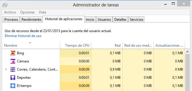 Administrador de tareas Windows 8 historial de aplicaciones width= height=