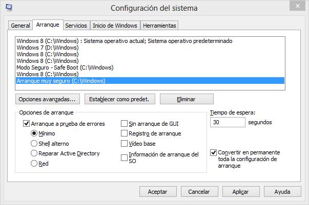 Activar el modo seguro en Windows 8
