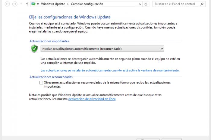 Cambiar configuración de las actualizaciones de Windows 8