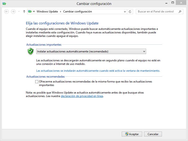 Opciones de actualización Windows 8
