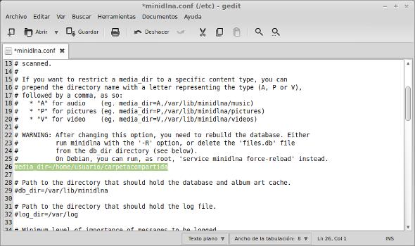 Configurar MiniDLNA Linux width= height=