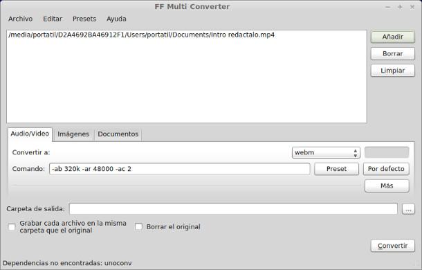 Conversor de vídeo, imágenes y documentos con FF Multi Converter en Linux