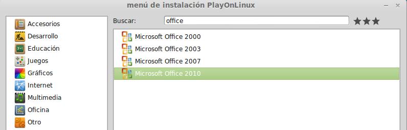 Instalar office 2010 desde playonlinux