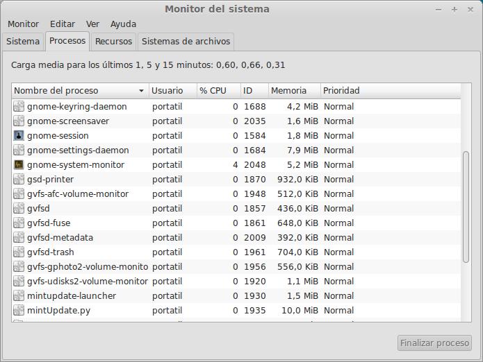 monitor del sistema de ubuntu 12.10 para eliminar procesos