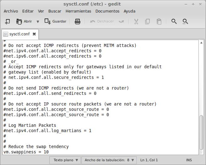 cambiando valores RAM y SWAP Ubuntu