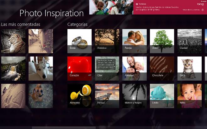 Descarga las mejores fotos con Photo inspiration en Windows 8