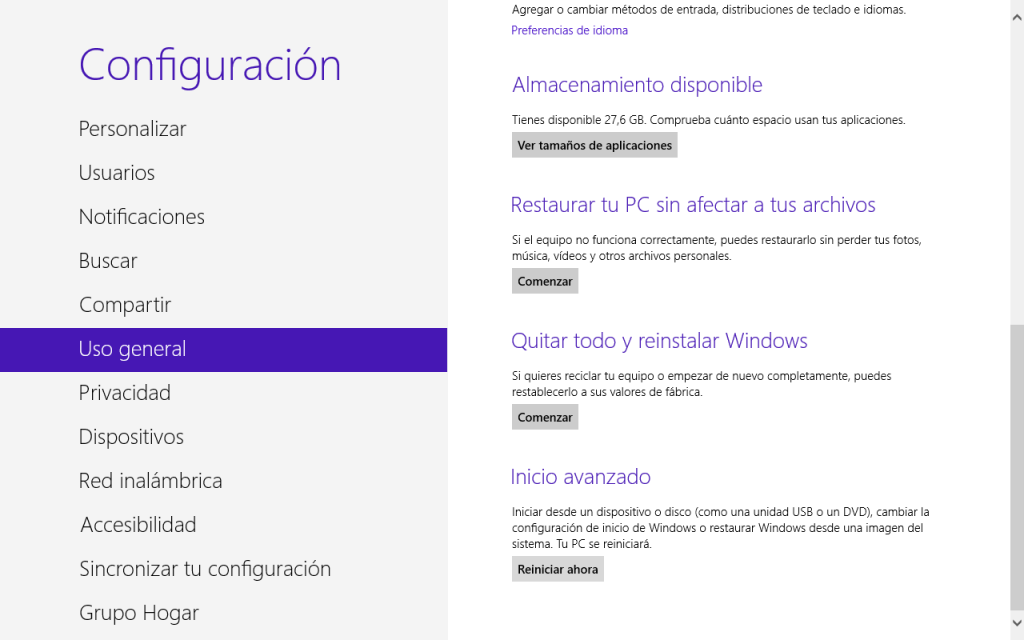 Reiniciar Windows 8 modo seguro