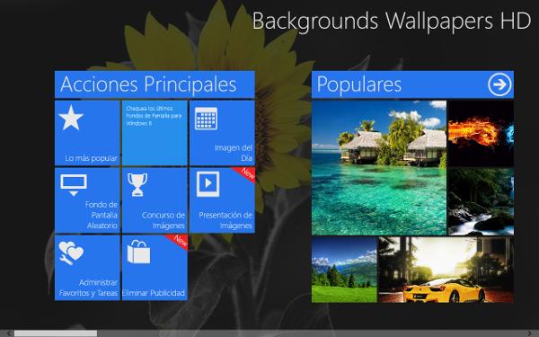 Aplicación para descargar fondos de pantalla en Windows 8