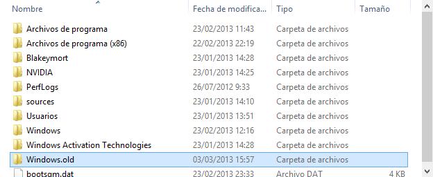 Carpeta Windows.old en Windows 8 width= height=