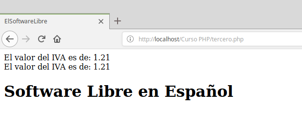 Ejemplo de constantes en PHP